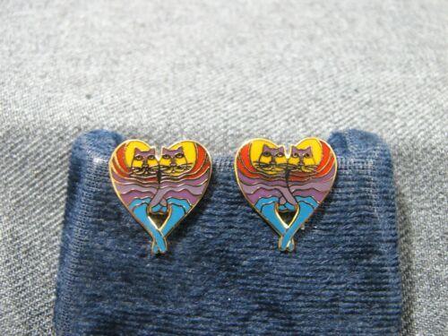 Vintage Laurel Burch rainbow cat heart enamel metal lapel pins