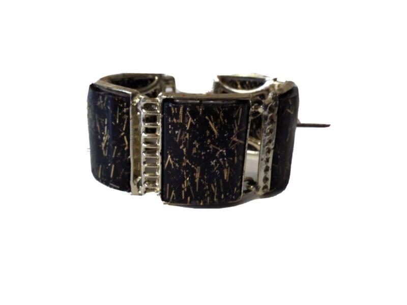 Vintage Gold Confetti Black Lucite Link Bracelet