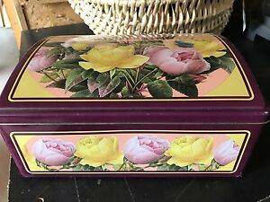 Vintage Metal Flower Tin