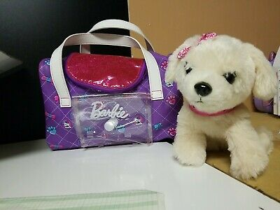 Barbie Just Play Kiss & Care Interactive Pup w/ Carrier, tested and Works! Cute!