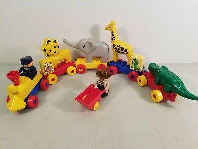 Vtg. Lego Duplo Lot: Train Engine, 4 Cars, 4 Zoo Animals & 2 Figures