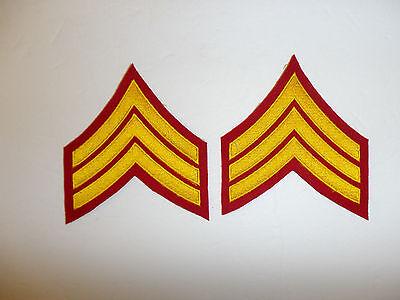 b2043p WW2  Korea USMC Dress Blue Sergeant Marine chevron Embroidered pair R6E