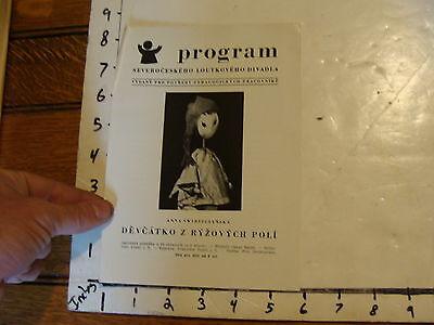 Vintage MARIONETTE Paper: PROGRAM devcatko z ryzovych poli PRAGUE