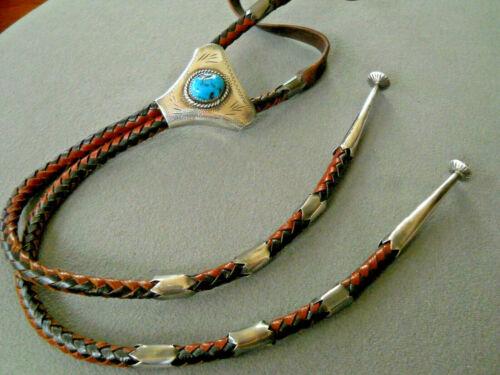 Southwestern Cedarstaff Style Sleeping Beauty Turquoise Sterling Silver Bolo Tie