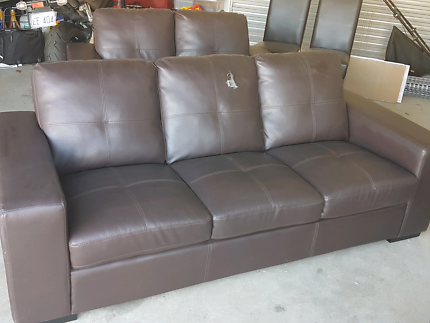 3 and 2 seater chocolate brown leather look suite