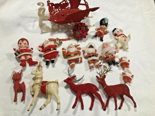 Vintage Mixed Lot Of 14 Hard Plastic Glitter Felt Flocked Christmas Ornaments