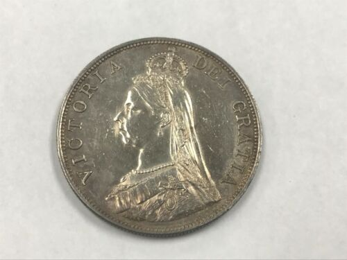 1887 Great Britain Silver Double Florin Toned Au Cleaned Arabic 1 KM 763 *Q1K5