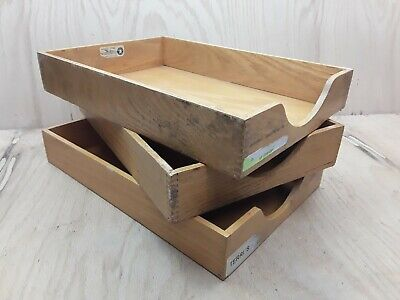 Lot 3 Vintage Wood Desk Organizer Legal Tray Dovetail Wood Office In Out Box 2b