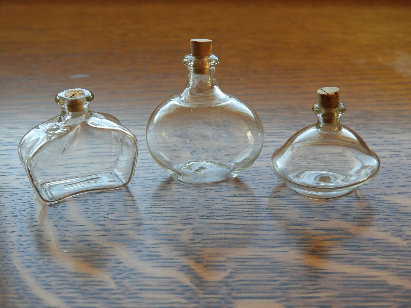 Vintage Lot Of 3 Hand Blown Glass Clear Perfume Bottle Cork Stoppers 2 Of 2 - $25.00