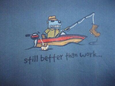 Positivitees Dog Fishing Beers Boot Still better than work  blue XL
