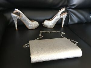 Silver glitter shoes sz 6 and clutch Hfx off Novalea