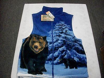 Mens Trail Crest poly Fleece BEAR ANIMAL PRINT vest jacket sherpa linning warm  ()