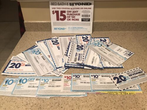 Bed Bath Beyond Coupons - Lot Of 39 - 20 Off, 10 Off 30 And 1 15 Off 50 - $9.95