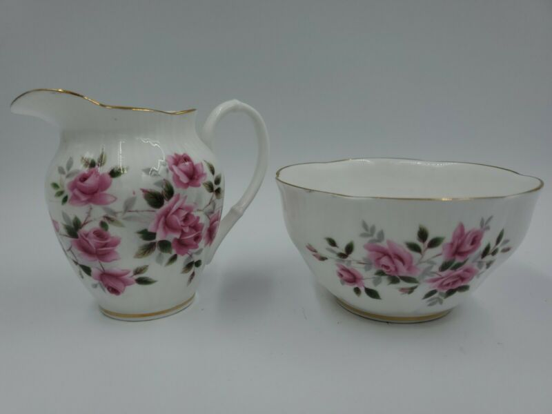 Royal Albert Fine Bone China Mini CREAMER & SUGAR BOWL w/ Roses Gold England