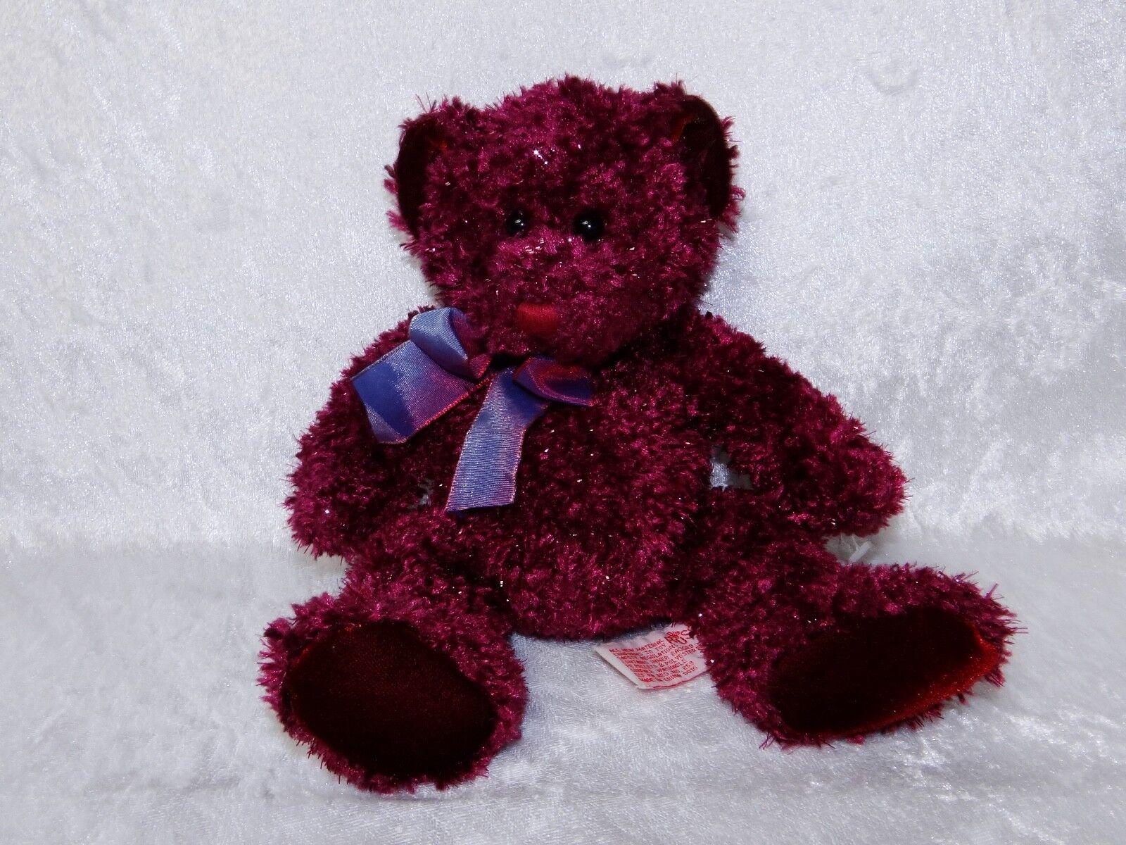 "Russ Berrie & Co Plush Teddy Bear Poppy 9.5"" Bear Burgundy 20856"