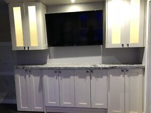 Shaker white entertainment build out
