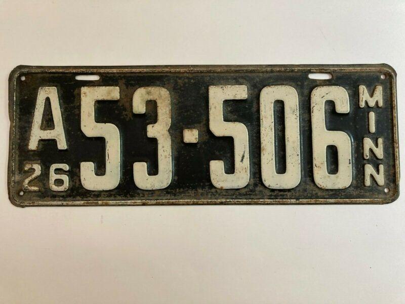 1926 Minnesota License Plate Nice All Original Paint