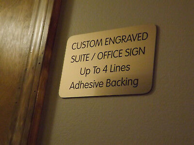 Custom Engraved Bronze 4x6 Office Suite Sign | Small Business Wall Door Plaque Engraved Wall Sign