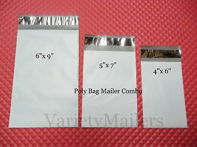 60 Small Poly Bag Mailer Variety Pack 20 Each 4x6 5x7 6x9 Shipping Envelopes