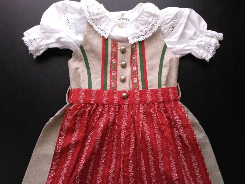 Dirndl Traditional German Dress Linen Blend Girls Size 2T (92) Costume
