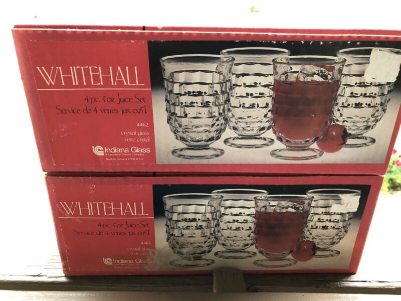 Vtg Indiana Whitehall American Footed Juice Glasses New in Original Box 2 sets