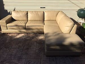PLUSH FURNITURE 6 SEATER MODULAR COUCH / SOFA + CHAISE TAN LEATHER Brighton Bayside Area Preview