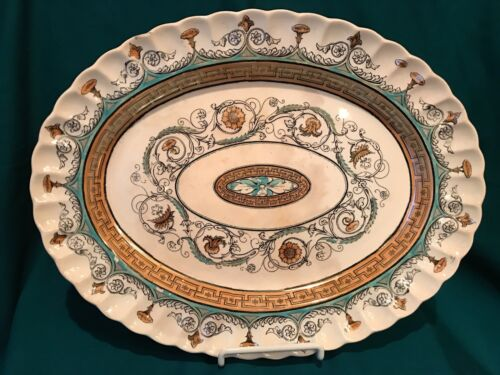 "Antique Transferware Platter - ""Florence"" Black & White w Enamel Highlights"