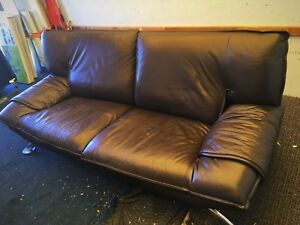 Brown Leather Couch (Two Seater)