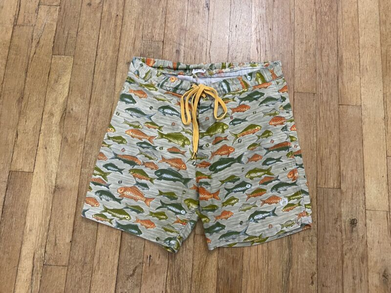 HANG TEN Mens Med Floral Camo Capira Swim Board Shorts Print All Over Fish VTG