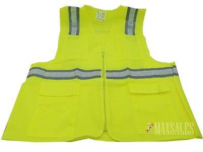 Safety Vest Lime Color High Visibility Reflectors Large