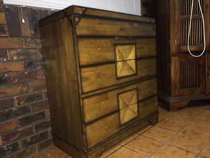 Tall boy dark wood designer used good condition