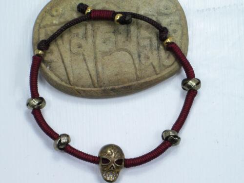 ADJUSTABLE FAIR TRADE UNIQUE WRATHFUL BRASS SKULL BRACELET TIBETAN BUDDHIST