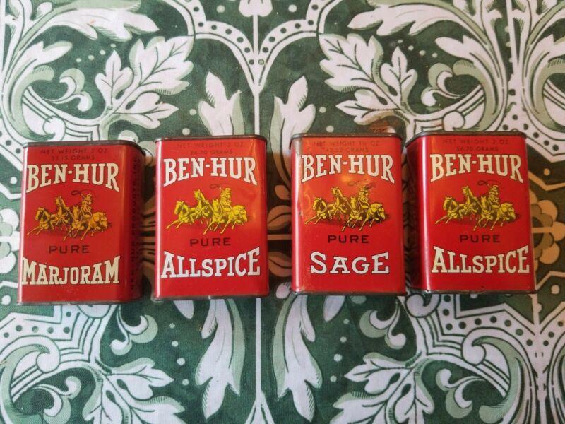 Vintage Ben-Hur Spice Tins