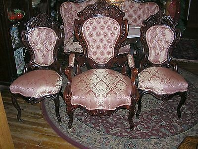antique meeks stanton hall laminated rosewood parlor set, sofa , 1 arm & 2 side ()