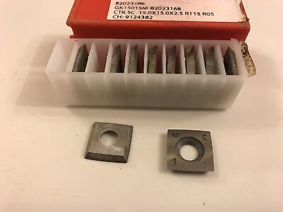 Helical Carbide Inserts 15x15x2 Mm Spiral Head Ceratizit Wood 10 Pack