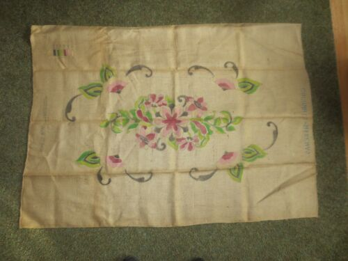 "Vintage ""WINTHROP"" FLORAL Latch Hook PRINTED CANVAS ONLY - 29"" x 47 1/2"" Oval"