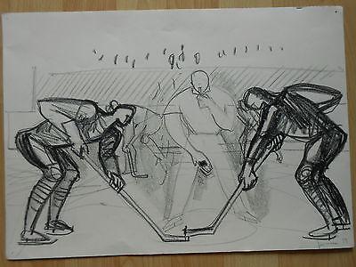 EISHOCKEY Hockey Puck  Schiedsrichter Kohlezeichnung von Gerhard Grimm Grünsfeld