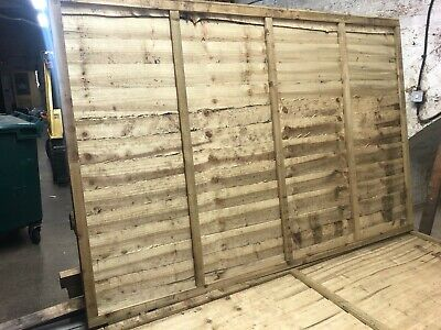 13 no. Waney lap fence panels pressure treated green 1830w x 1200h (6' x 4')