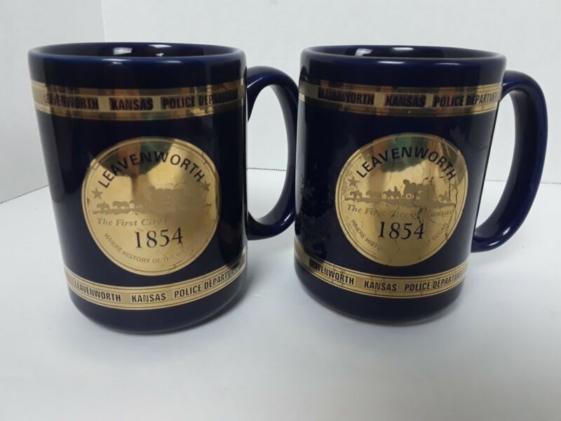Leavenworth Kansas Police Department 1854 Souvenir Blue Coffee Mug !READ!