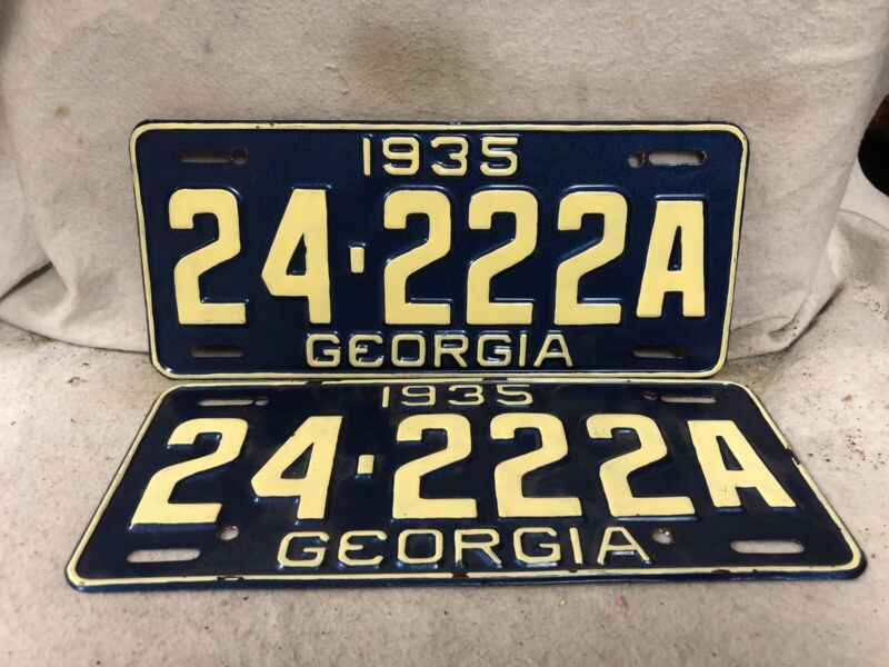 Vintage 1935 Georgia License Plate Pair(Repaint)
