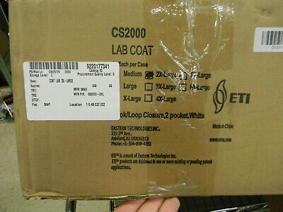 New Box Of 30 Eti Orex Cs2000-2xl Lab Coat Hookloop 2 Pocket White N0