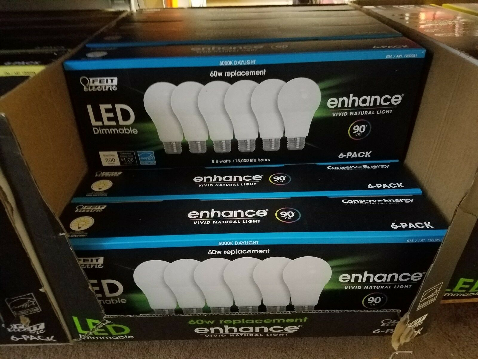 6X LED DAYLIGHT 60W Dimmable Bulbs FEIT ELECTRIC 800 Lumens