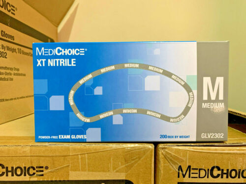MEDIUM MEDICHOICE XT NITRILE EXAM GLOVES 2000 COUNT (10 boxes x 200 ct) SEALED