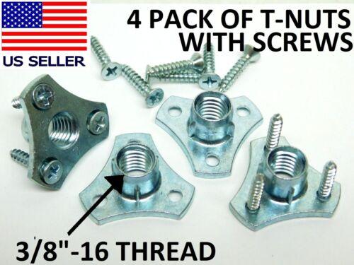 "(4) HEAVY DUTY Screw-On Tee T Nuts 3/8""in-16 Thread for Adjustable Feet Glide HF"