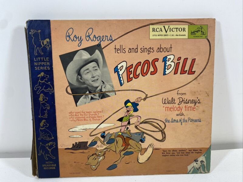 """Vintage Roy Rogers PECOS BILL Disney """"Melody Time"""" Record and Illustrated Book"""