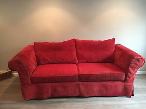 Red corduroy couch