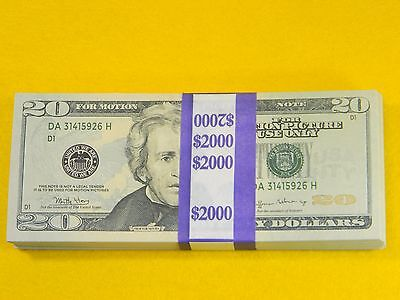 $20 PROP MONEY  $2,000 STACK FULL PRINT NEW STYLE HQ AMAZING COLOR VERY REAL