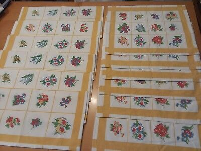 LOT (12) XOCHI Trellis Floral Daffodil Placemats + Cloth Napkin Table Linens  Y6
