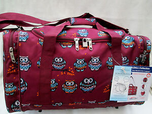 OWL DESIGN [BURGUNDY ] OVERNIGHT BAG/CABIN FRIENDLY /HOLDALL/ FLIGHT BAG/GYM BAG