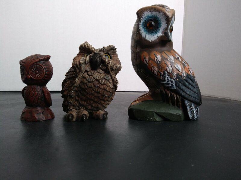Lot of 3 Vintage Owl Figurines